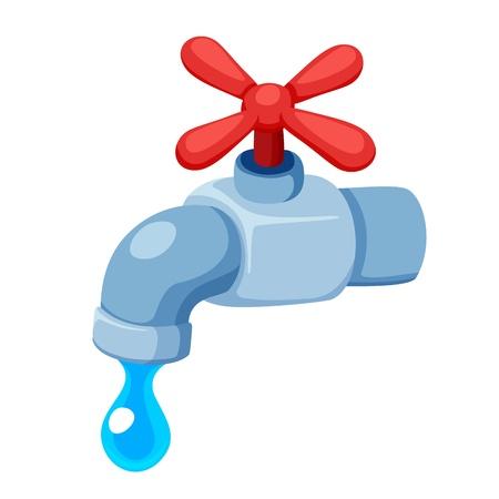 agua grifo: Grifo de agua aislado en blanco Vectores