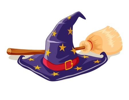 sombrero de mago: Bruja sombrero y escoba Vectores