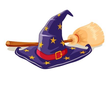 hat trick: Witch cappello e scopa Vettoriali