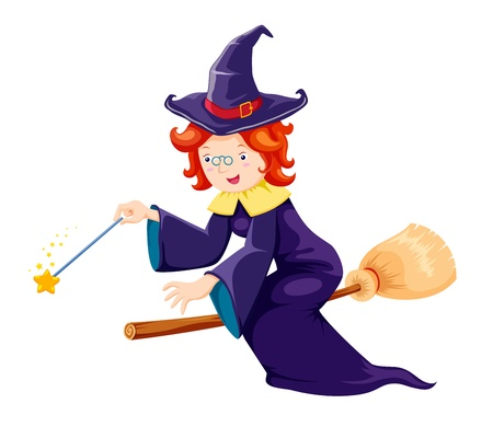 breast comic: Cute witch on a broomstick