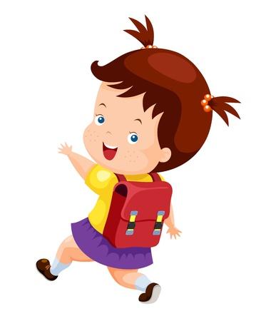 Linda chica de vuelta a la escuela Ilustración de vector
