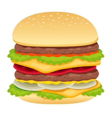 american food: hamburger on white
