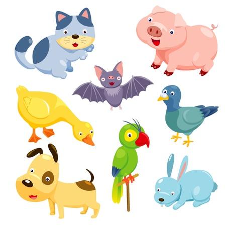 cat cartoon: Cute animals set