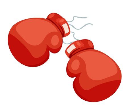 A dos guantes de boxeo sobre un fondo blanco