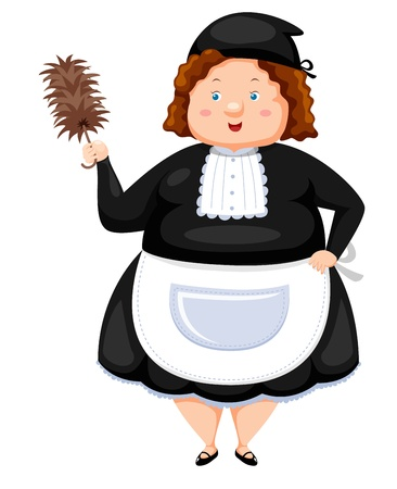 feather duster: Woman Dressed Maid