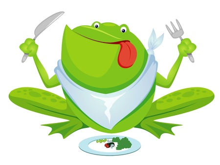 Green frog eating Vector