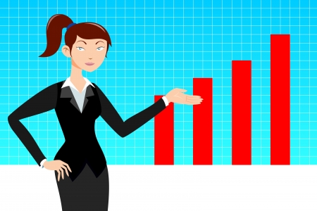 Business woman with graph Vector