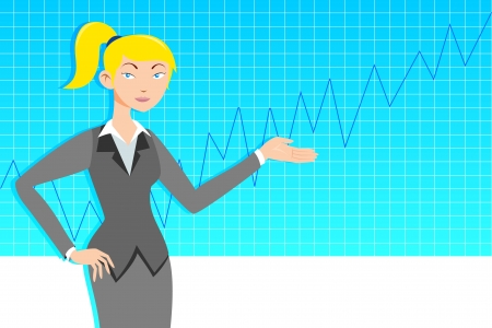 Business woman with line graph Stock Vector - 14763059