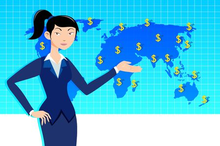 Business woman with world map, make money Stock Vector - 14763062