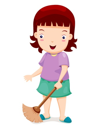sweeping: Barrido Chica Vectores
