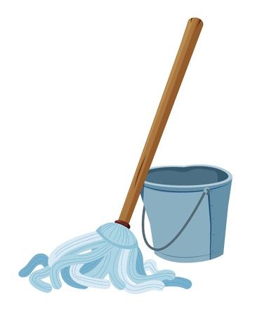 zwabber: Emmer en mop Stock Illustratie