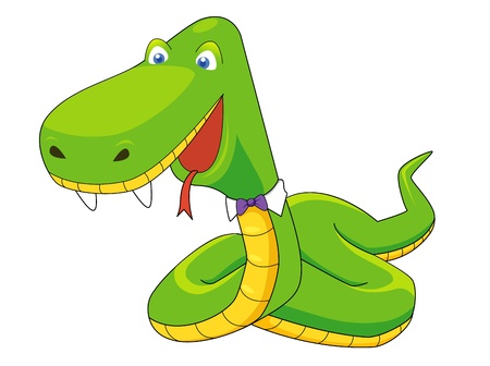 Green snake  cartoon Vector