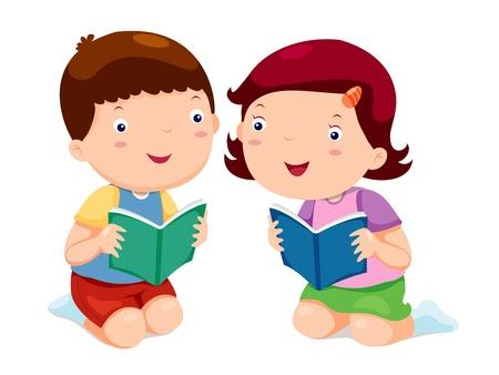 student boy: I bambini la lettura di libri Vettoriali