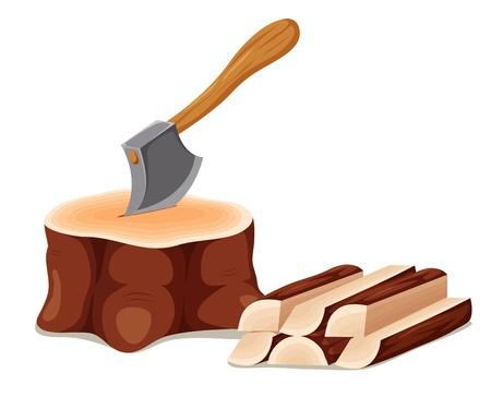 wooden work: Axe nella tagliere blocco