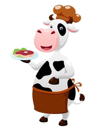 beef steak: Vaca de la historieta con el filete de carne Vectores