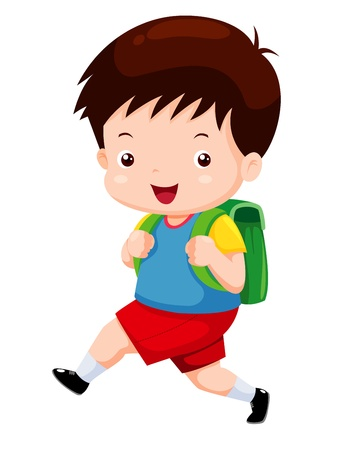boys happy: Cute boy go to school Illustration