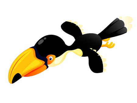 hornbill: Cartoon hornbill flying