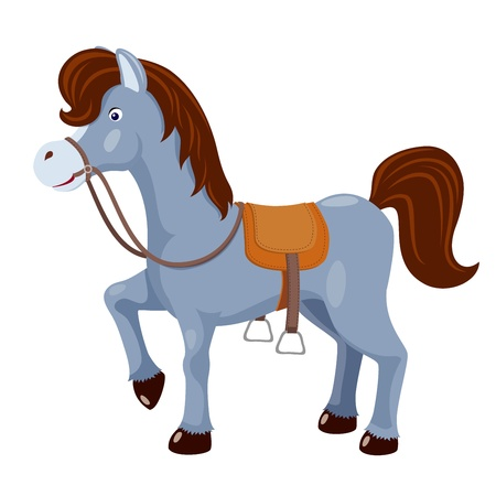 domestic horses: Cute horse with saddle vector Illustration