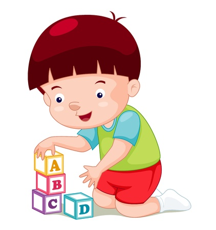 baby illustration: Little boy playing blocks