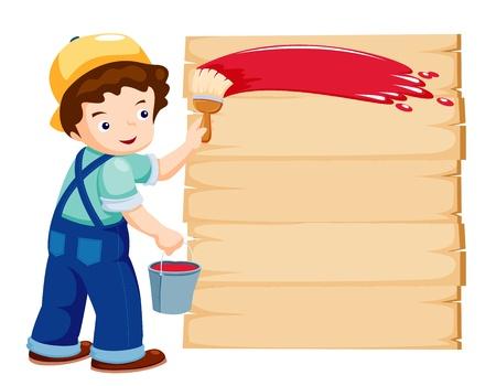 craft man: Cartoon painter - vector illustration