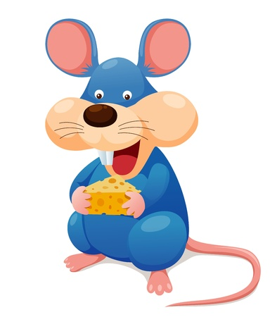 mouse hole: Rat eating cheese Illustration
