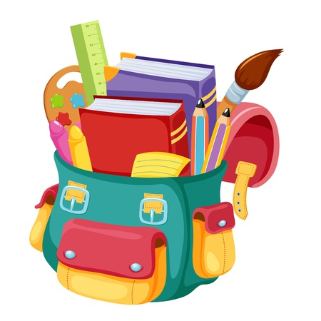 Terug naar school, schooltas illustratie