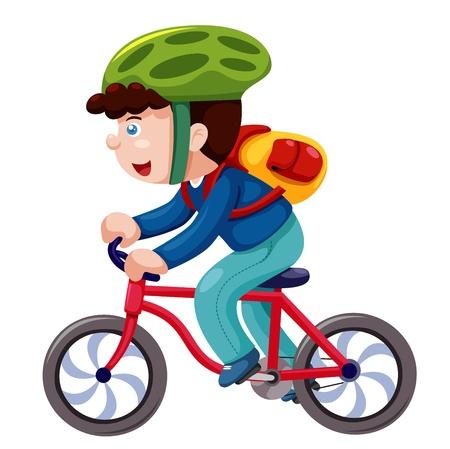 fiets: Jongen op een fiets vector