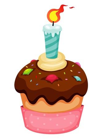 gateau bougies: Cup cake vecteur Illustration