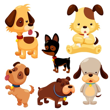 Cartoon dog set Vector
