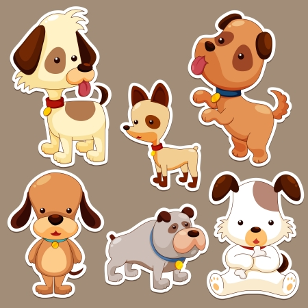 dog ears: Cartoon dog set Illustration