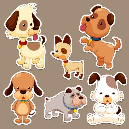 perro caricatura: Cartoon set perro