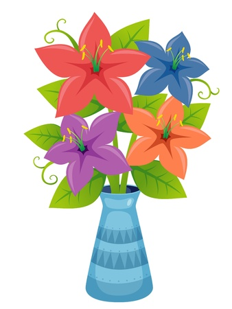 flowers close up: Flower in vase vector