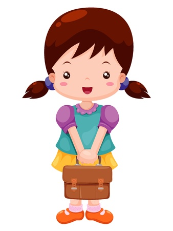 school aged: Girl back to school Illustration