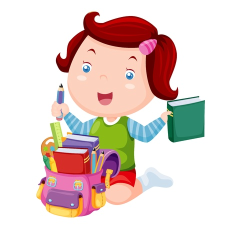 child of school age: Cute girl ready back to school Illustration