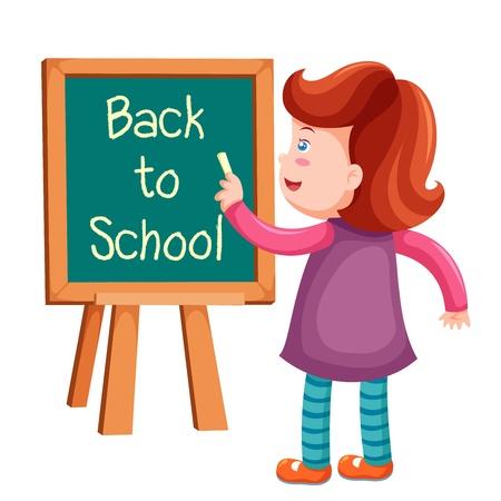 writing activity: Girl writing back to school
