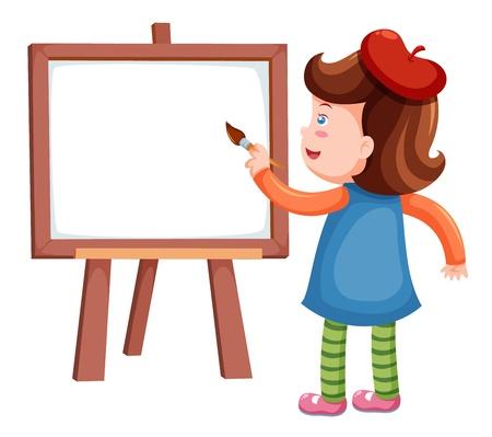 children painting: Girl painting blank whiteboard Illustration