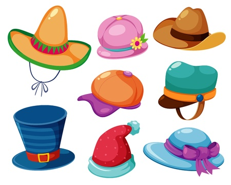 beach wear: Hat vector set Illustration