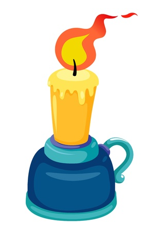 candle holder: illustration of candlestick with candle