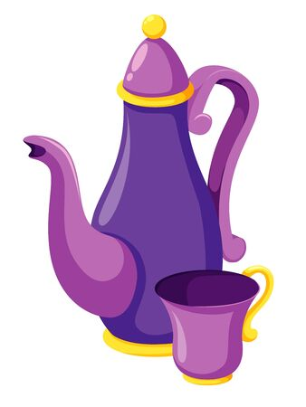 Tea cups with teapot Illustration