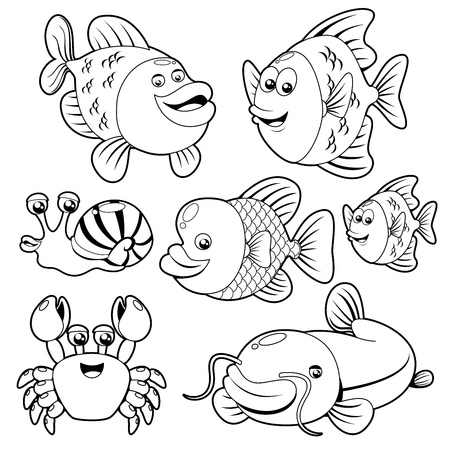 sea creatures: Fishs black and white collection