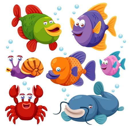 cr�atures: Illustration de la collecte de poissons Illustration