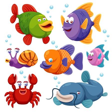 saltwater fish: Illustrazione della raccolta di pesci