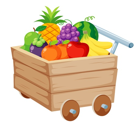 grapes in isolated: Fruits on Wood trolley illustration Illustration