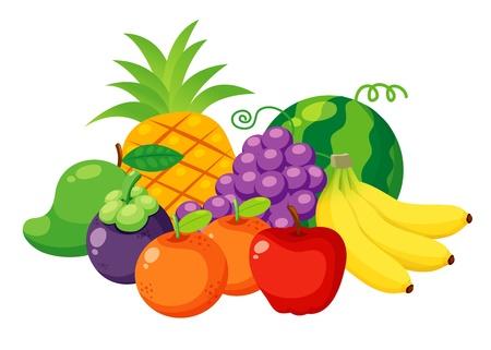 mangoes: Illustration of Fruits set