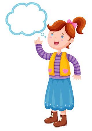 Illustration girl thinking Stock Vector - 14974555