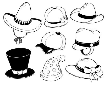 모자: 모자 검은 색과 흰색 세트