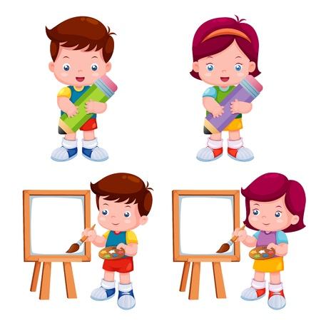 ni�os con l�pices: ilustraci�n de ni�os con objeto educativo