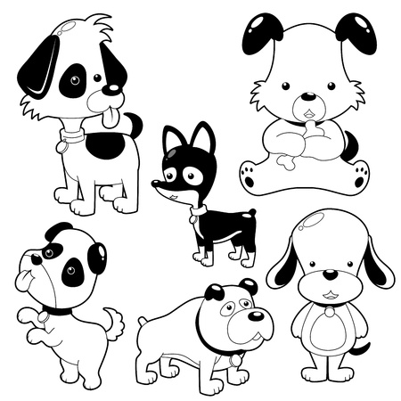 Cute Dog black and white set Stock Vector - 14974564