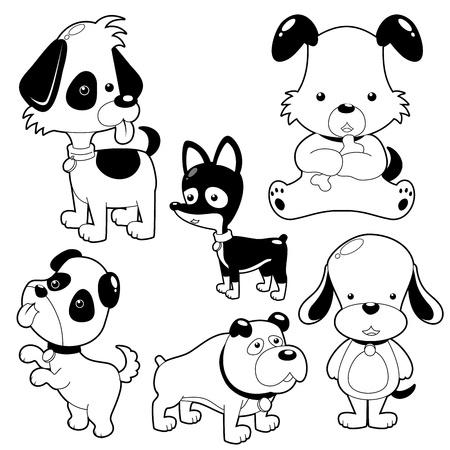 perro caricatura: Lindo Perro negro y blanco conjunto