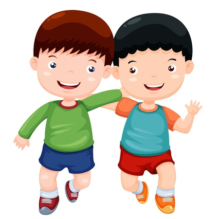 freedom of expression: Illustration two boys have fun vector